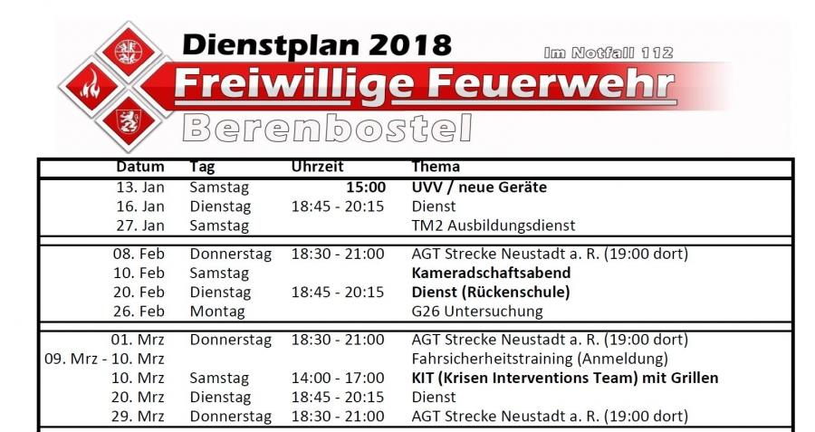 Dienstplan 2018